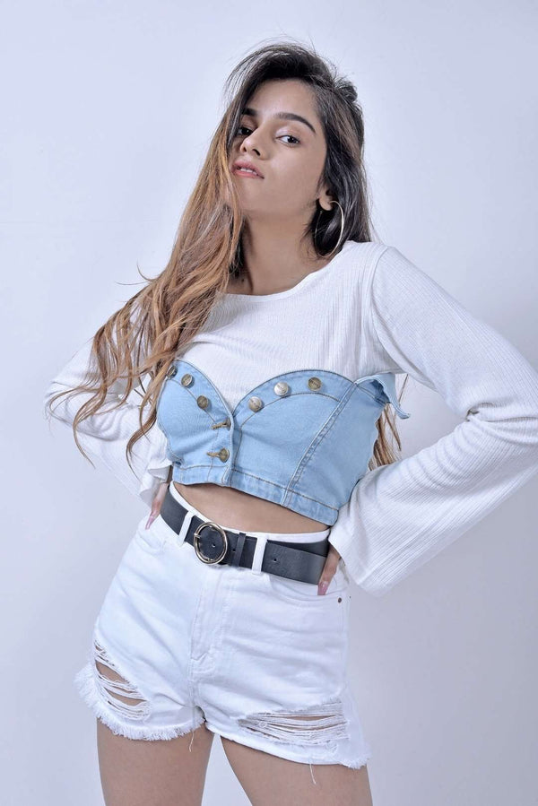 STM light blue denim crop top