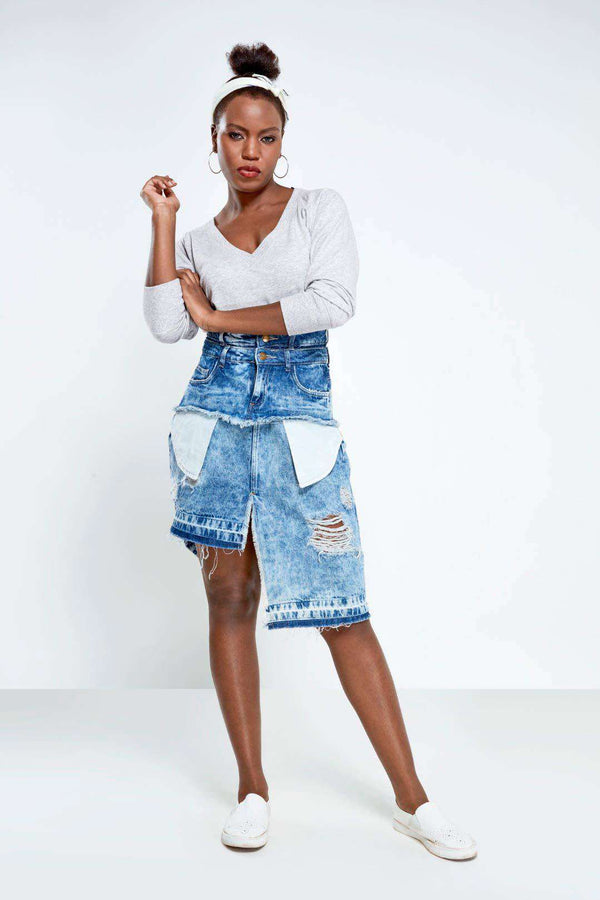 Mid Blue high rise distressed  skirt over skirt