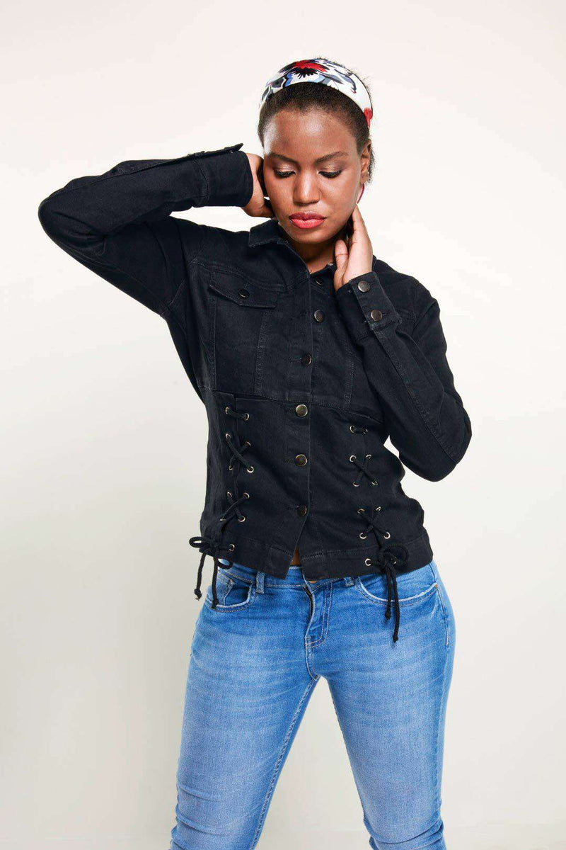Black Regular fit enzyme washed denim jacket - FREAKINS