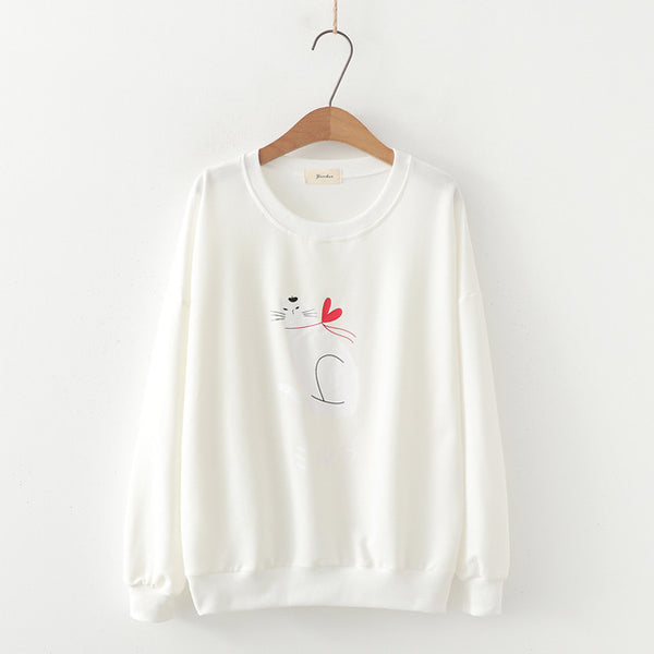 Cat Love Heart Print Round Collar Students Hoodie