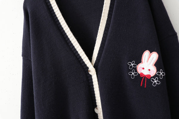 Rabbits Embroidery Cardigan Sweater Long Sleeve