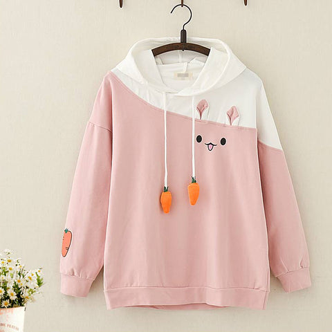 Kawaii Rabbit Carrot Cotton Fleece Hoodie - juwas.com online store