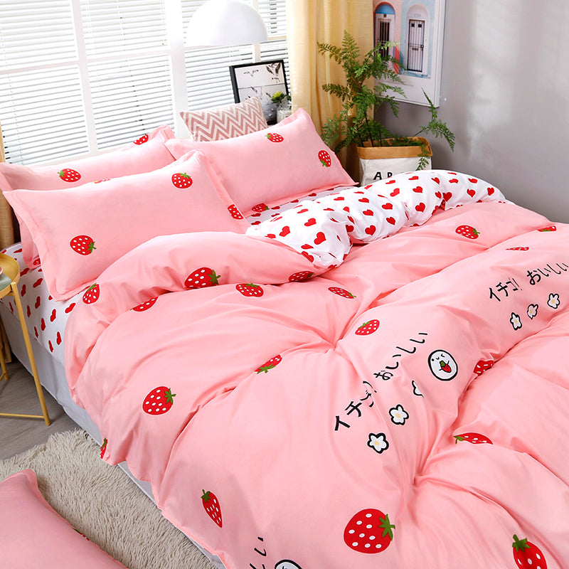 Cute Strawberry Print Comfortable Bedding Set