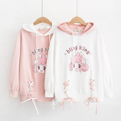 Cartoon Print Rabbit Ears Bow-Knot Long Sleeve Hoodie - juwas.com online store