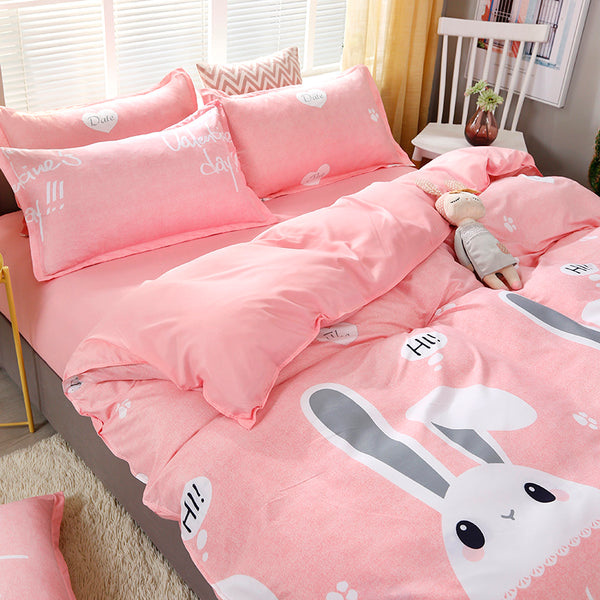 Kawaii Rabbits Print Pink Bedding Set