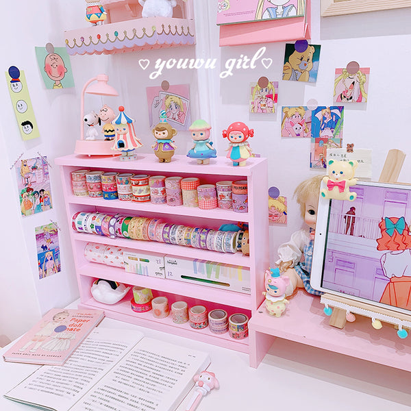 Kawaii Pink Wood Storage Display