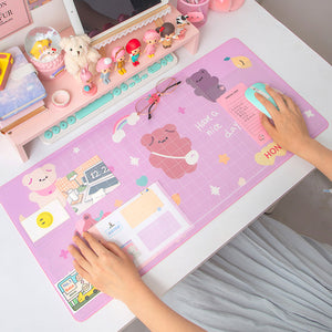 Kawaii Bear Flowers Strawberry Desk Pad