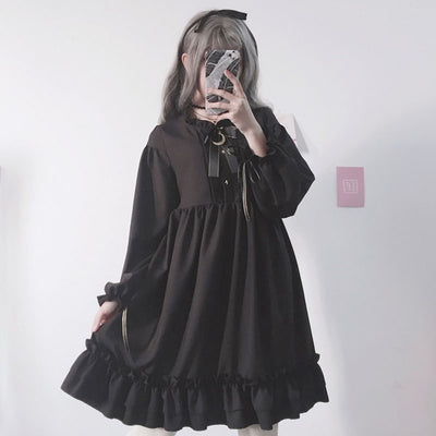 Japanese Harajuku Bow-Knot Flounced Dress - juwas.com online store