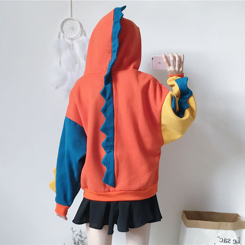 Cool Dinosaur Color-block Oversized Hoodie - juwas.com online store