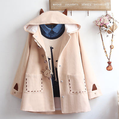Kawaii Fox Ear Button Loose  Hooded Coat - juwas.com online store