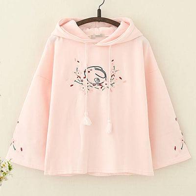 kawaii Rabbit Floral Embroidery Hoodie - juwas.com online store