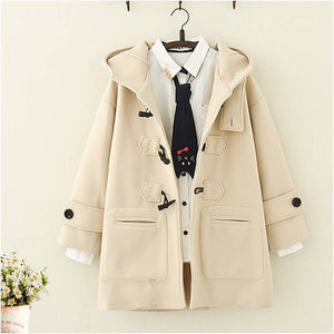 Japanese Long  Hooded Coat with Horn Buckle - juwas.com online store