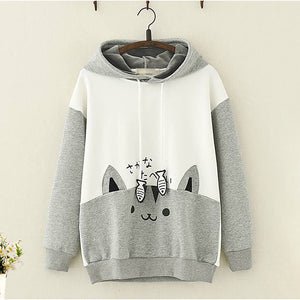Japanese Style Cat Fish Hoodie - juwas.com online store