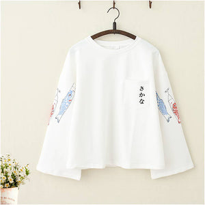Japanese Koi Fish Trumpet Sleeves Loose Top - juwas.com online store