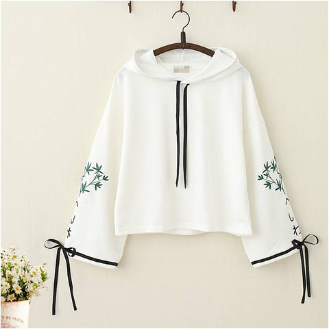 Japanese Bamboo Embroidery Bowknot Sleeves Sweatshirt - juwas.com online store