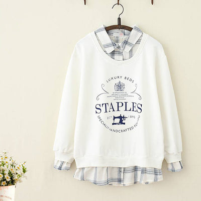 Letter Print Fake Two-Piece Hoodie - juwas.com online store