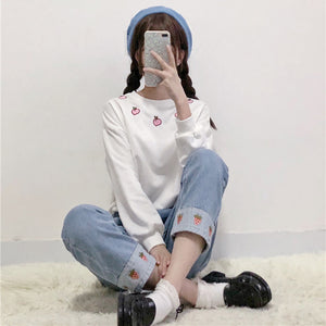 Strawberry Embroidery Jeans - juwas.com online store