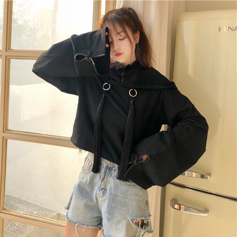 Gothic Tassels Flare Sleeves Hooded Top
