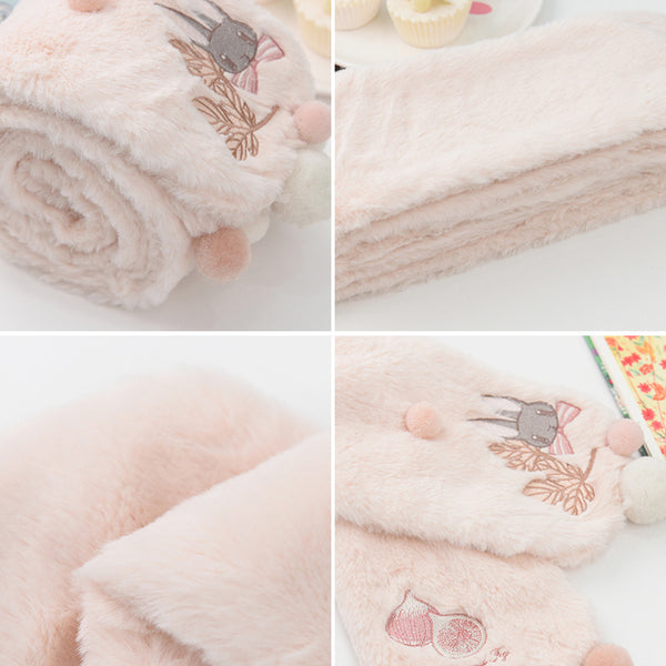 Kawaii Rabbit Embroidery Scarf