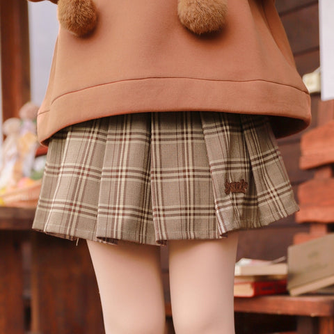 Sweet n Cozy Bear Embroidery High Waist Skirt