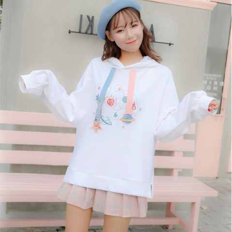 Japanese Sweet Planet Embroidery Cartoon Loose Hoodie