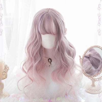 Curly Lolita Pink Purple Color Cosplay Wig - juwas.com online store