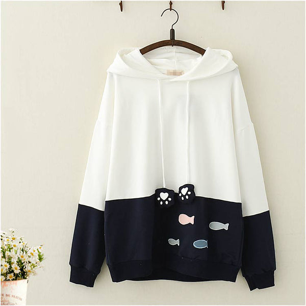 Kawaii Cat Claw and Fish Hoodie - juwas.com online store