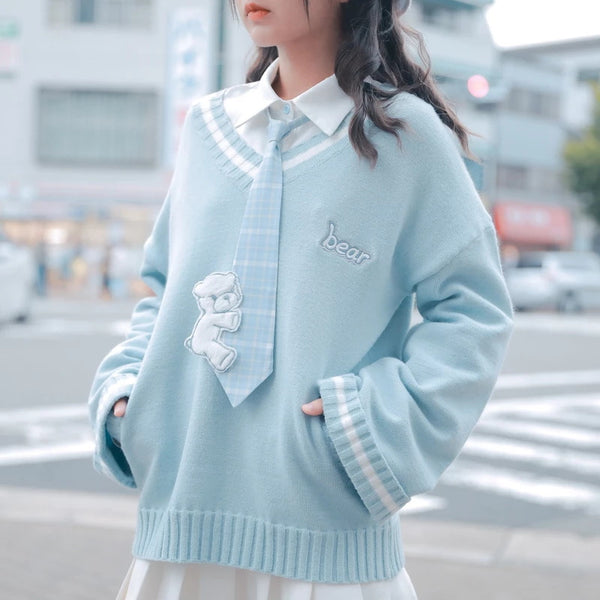 Bear Embroidery V Collar Sweater
