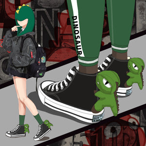 Cute Green Dinosaur Canvas Shoes