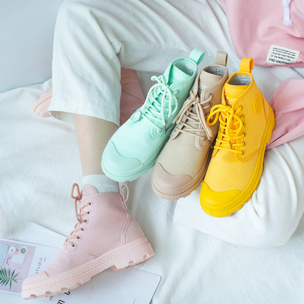 Candy Color Ankle Martin Boots