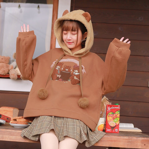 Cozy Bear Family Brushed Warm Hoodie