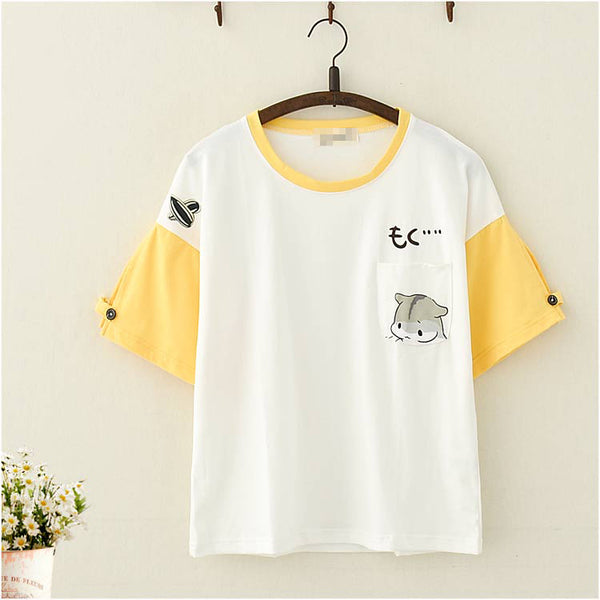 Simple Japanese Kitten Themed Front Pocket Two-toned Buttoned Sleeve T-shirt