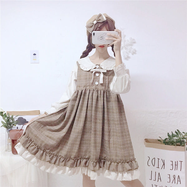 Japanese Lolita Fake Two-Piece Dress - juwas.com online store