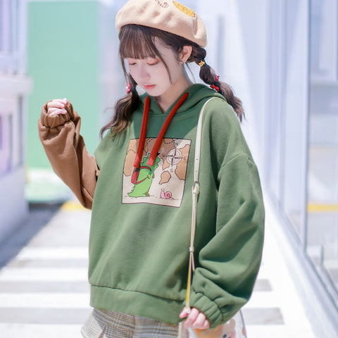 Cute Dinosaur Color-Block Hoodie