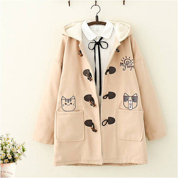 Kawaii Cat Embroidered Plush hooded Coat - juwas.com online store