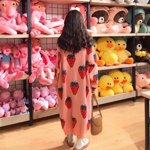 Cute Strawberry Loose Long Sweater Dress - juwas.com online store