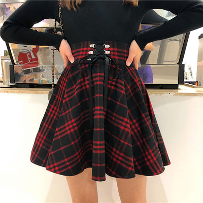 Punk Woolen High Waist Plus Size Plaid Skirt - juwas.com online store