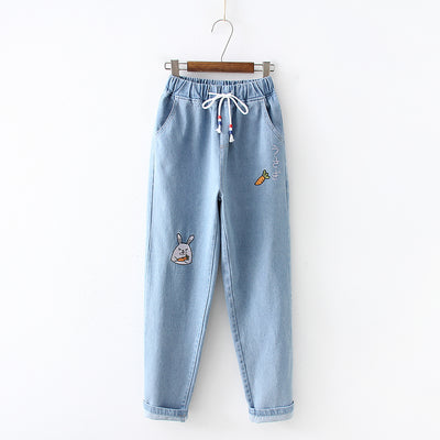 Rabbit and Carrot Embroidery Jeans - juwas.com online store