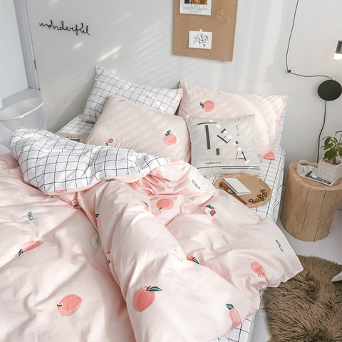 Sweet Peach Theme Comfortable Bedding Set