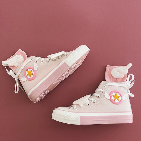 Pink High-Cut Sneakers with Wing Socks