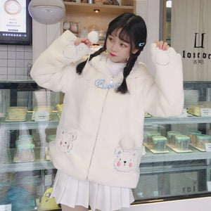 Kawaii Bear Ears Embroidery Pockets Winter Coat