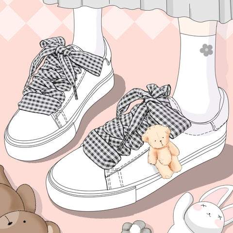 White Checkered Lace Cute Bear Sneakers