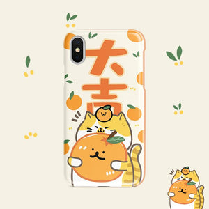 Cat Loves Oranges Lucky iPhone Case