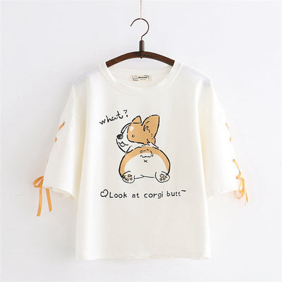 Kawaii Girls' Corgi Print Laced Sleeves Soft T-shirt Top - juwas.com online store