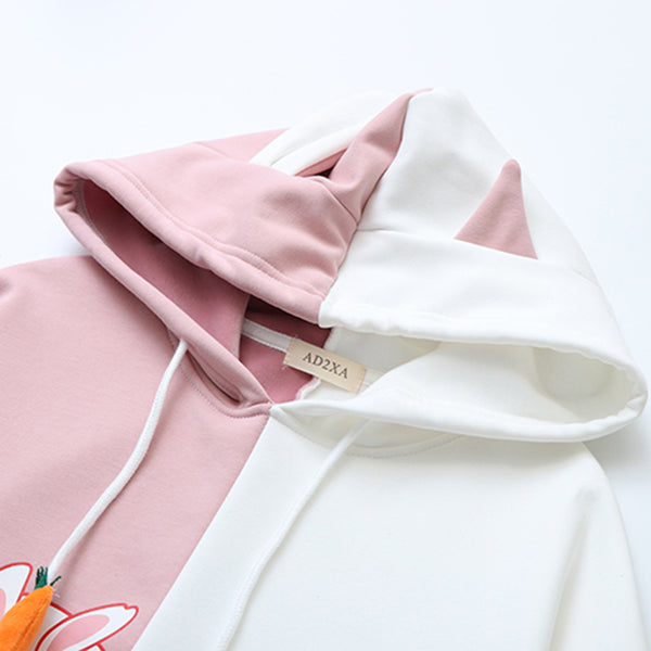 Pink White Colors Rabbit Carrot Hoodie - juwas.com online store