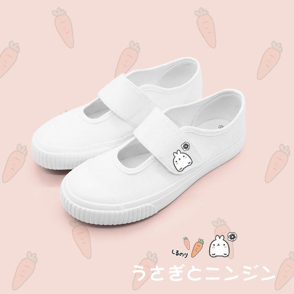 White Simple Kawaii Bunny Soft Shoes