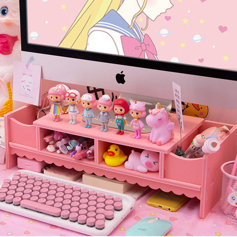 Kawaii Laptop Wood Shelf Desk Organiser