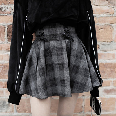 Gothic Grunge Harajuku High Waist Gray Plaid Mini Skirt - juwas.com online store