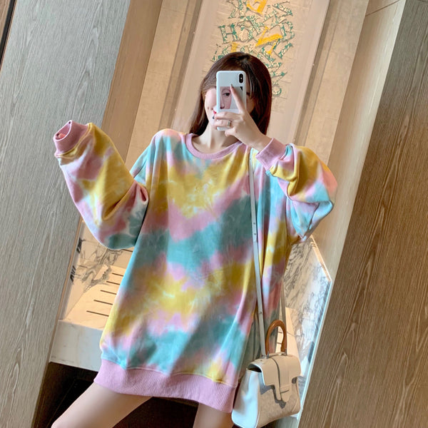 Colorful Loose Lazy Hoodie Round Collar