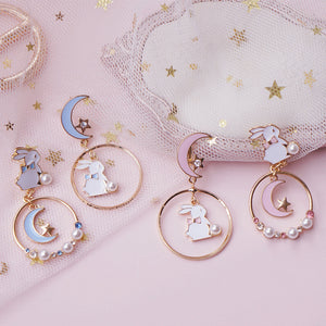 Cute Mismatched Bunny and Moon Earrings